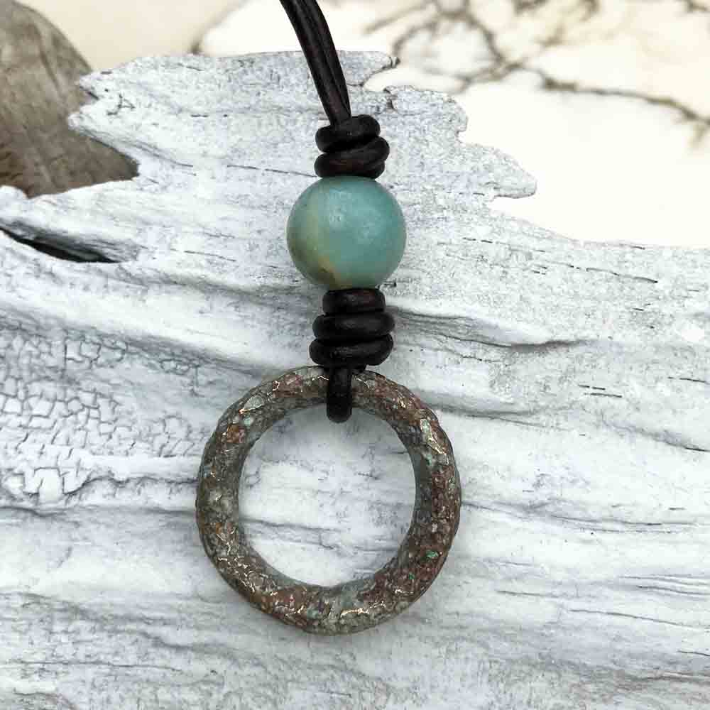 Bronze to Gray Green Celtic Ring Money & Genuine Amazonite Leather Necklace