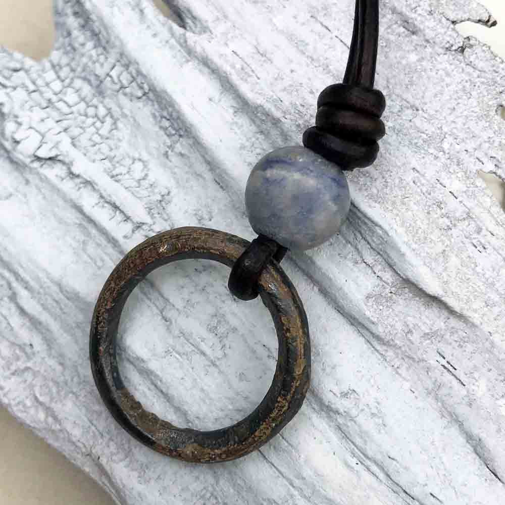 Deep Bronze Celtic Ring Money & Genuine Sodalite Leather Necklace