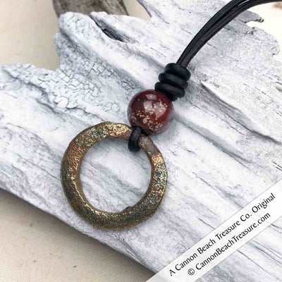 Bright Golden Celtic Ring Money & Genuine Rainbow Jasper Leather Necklace