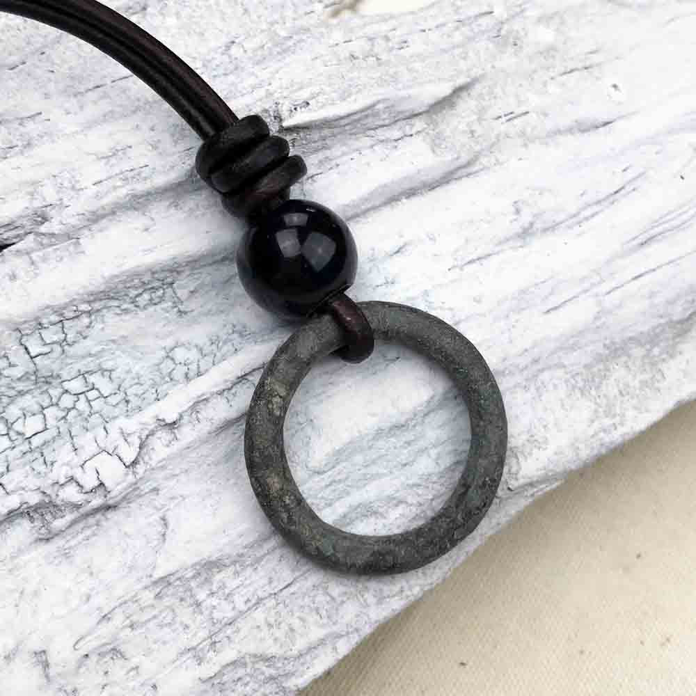 Deep Green Celtic Ring Money & Genuine Obsidian Leather Necklace