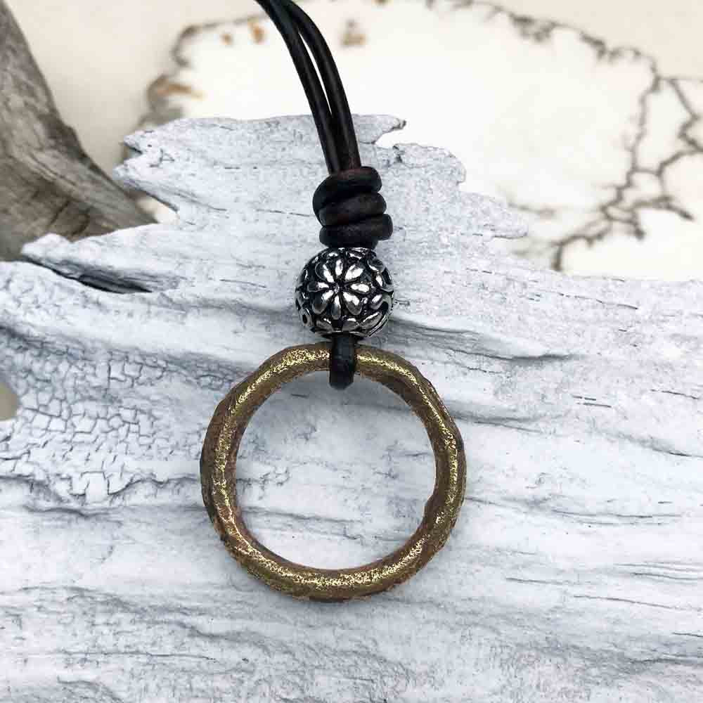 Radiant Golden Bronze Celtic Ring Money & Stainless Steel Leather Necklace