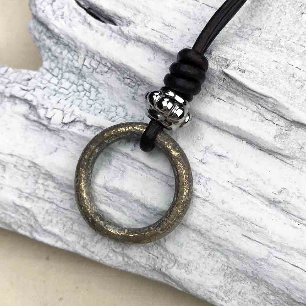 Mottled Bronze Celtic Ring Money & Stainless Steel Leather Necklace