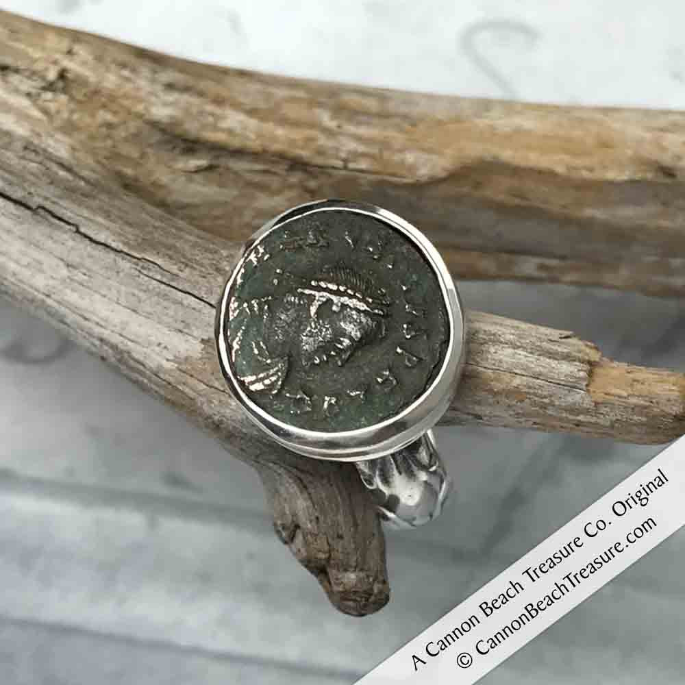 Ancient Roman Coin Ring: 100 AD – 450 AD in Sterling Silver Size 6