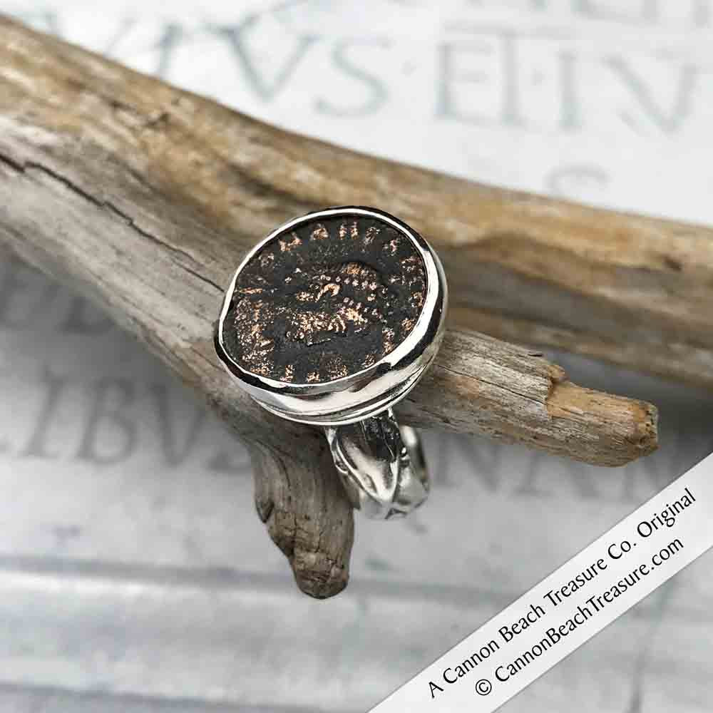 Ancient Roman Coin Ring: 100 AD – 450 AD in Sterling Silver