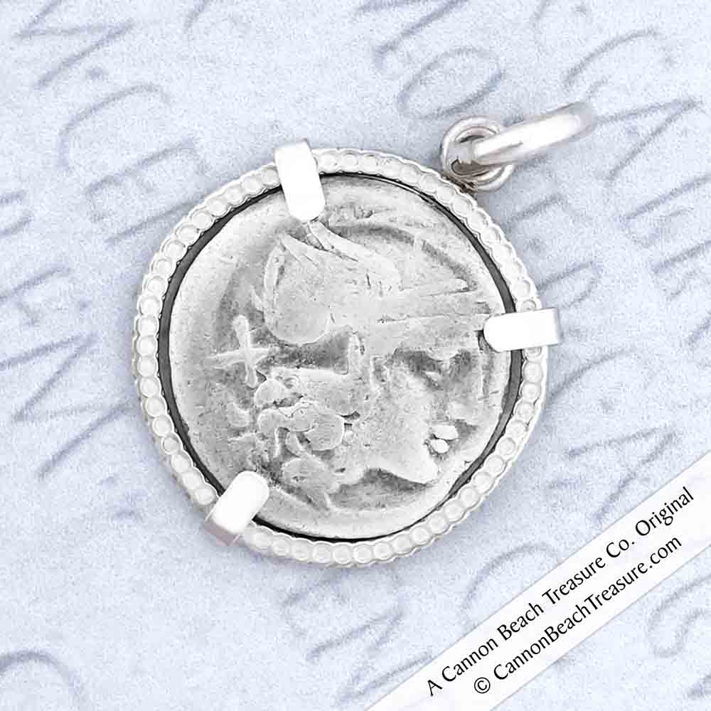 Roman Republic Silver Roma Denarius Coin Necklace circa 160 BC