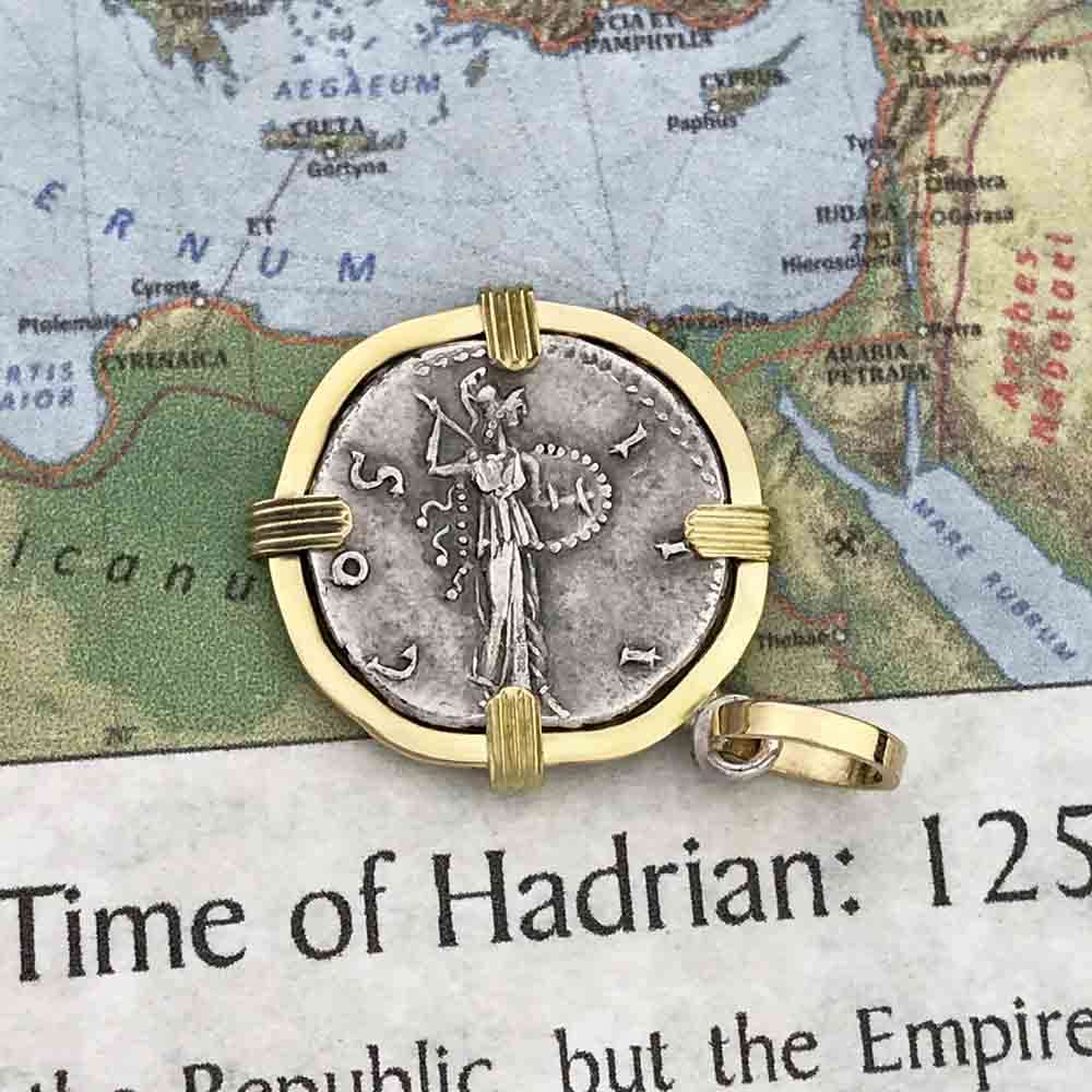 Roman Silver Denarius Coin of Hadrian, the Builder circa 120 AD 18K Gold Pendant | Artifact #8988