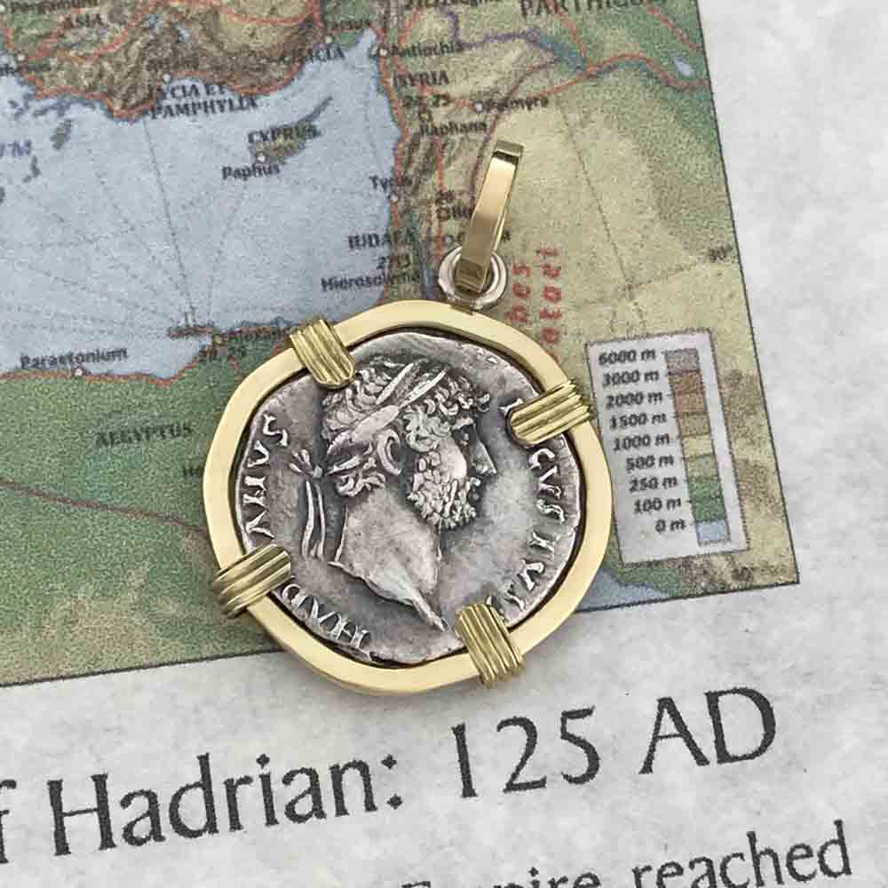 Roman Silver Denarius Coin of Hadrian, the Builder circa 120 AD 18K Gold Pendant