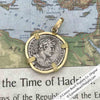 Roman Silver Denarius Coin of Hadrian, the Builder 121 AD 18K Gold Pendant