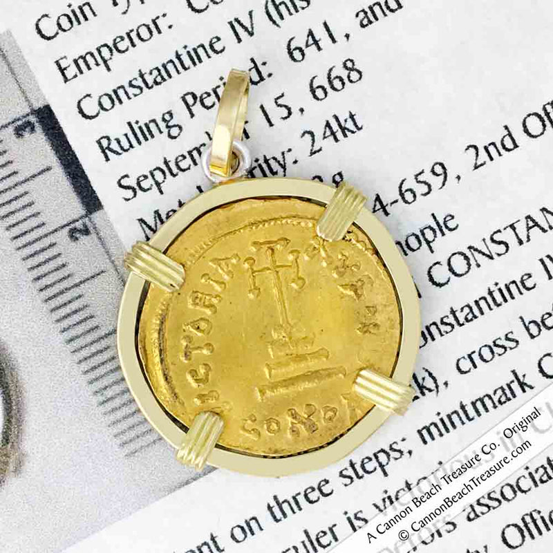 Byzantine Empire Gold Cross Solidus Coin Circa 654 AD in 18K Gold Necklace
