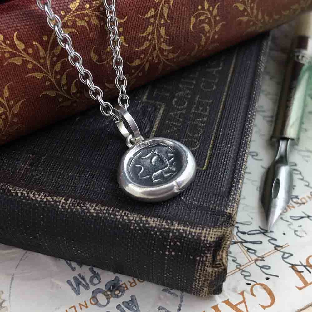 Ancient Dragon Fine Silver Wax Seal Pendant