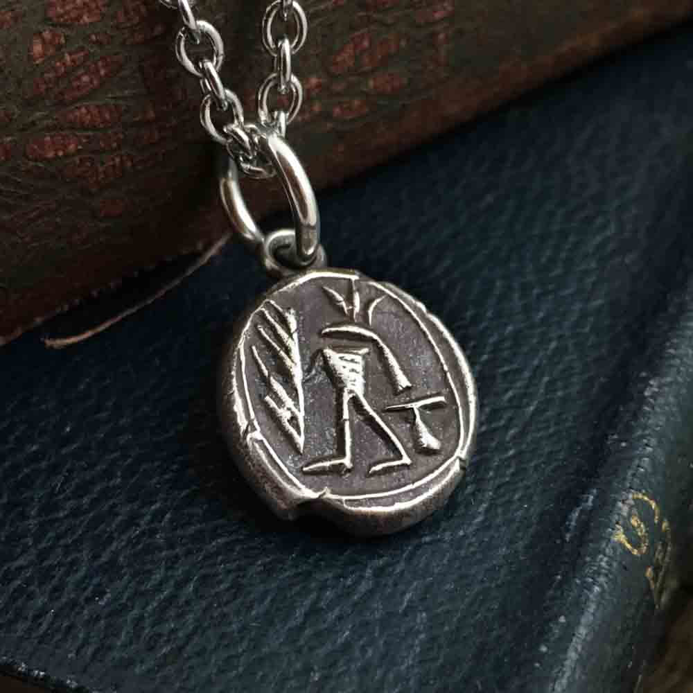 Ancient Egyptian Anubis Fine Silver Wax Seal Pendant