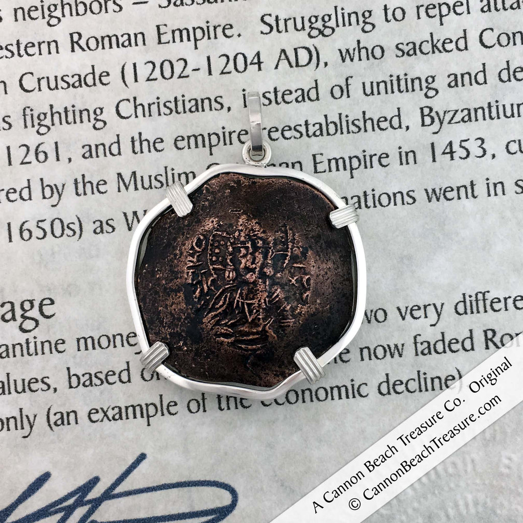Byzantine Bronze Cup Coin Picturing Jesus Christ Sterling Silver Necklace