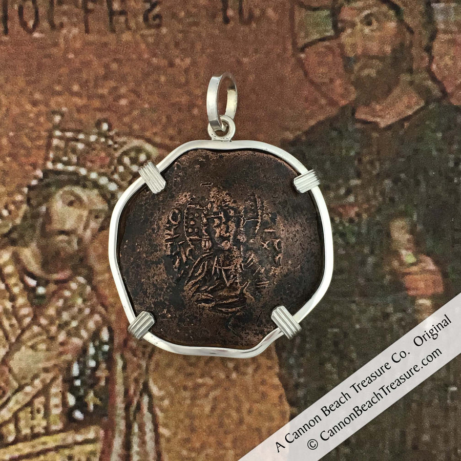 #8085 Byzantine Bronze Jesus Christ Cup Coin Sterling Silver Pendant