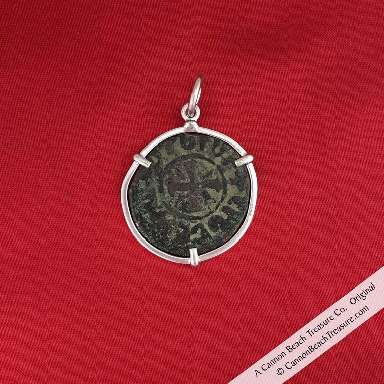 Armenian Crusader Bronze Coin circa 1250 AD with Cross of Christ Necklace