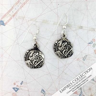 Atocha Shipwreck Coin Silver Spanish Mexico City Cob Piece of Eight Half Reale Shipwreck Treasure Coin Museum Earrings