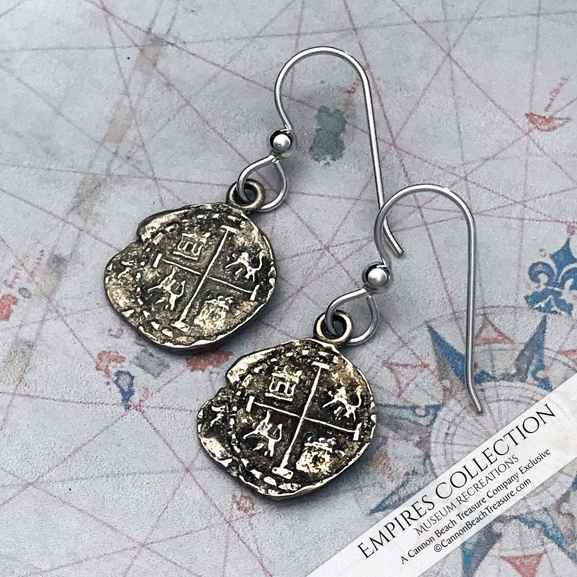 Potosi ½ Real Cob Coin Earrings in Shipwreck Silver