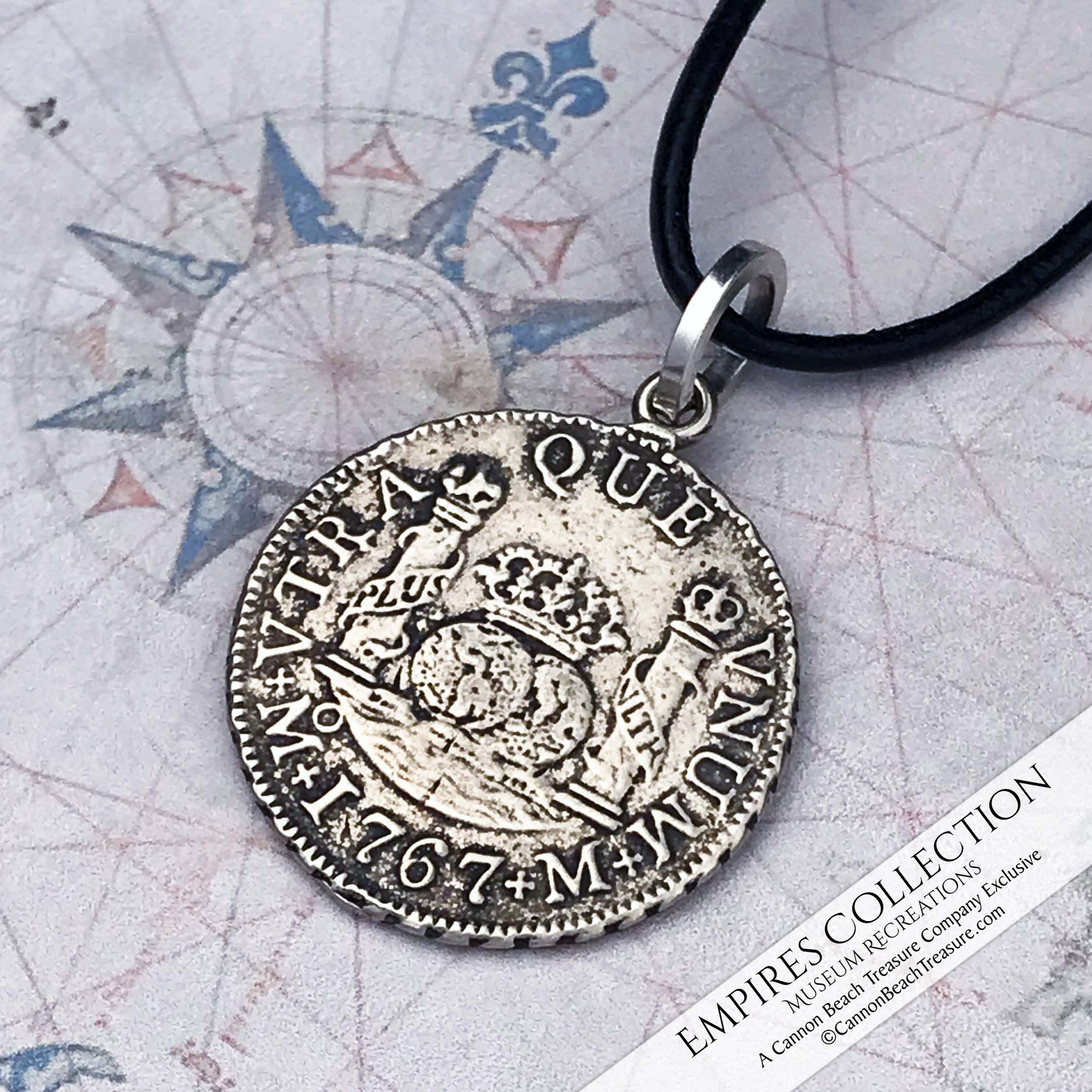 Mexico City 2 Reale Pillar Dollar Coin Pendant in Shipwreck Silver