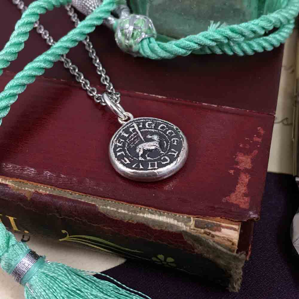 Behold the Lamb of God Medieval Fine Silver Wax Seal Pendant