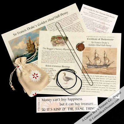 Historic Coin, Chain & Leather Cord Package - Set Sail with Sir Francis Drake Aboard the Golden Hind Ha'penny Necklace in Sterling Silver