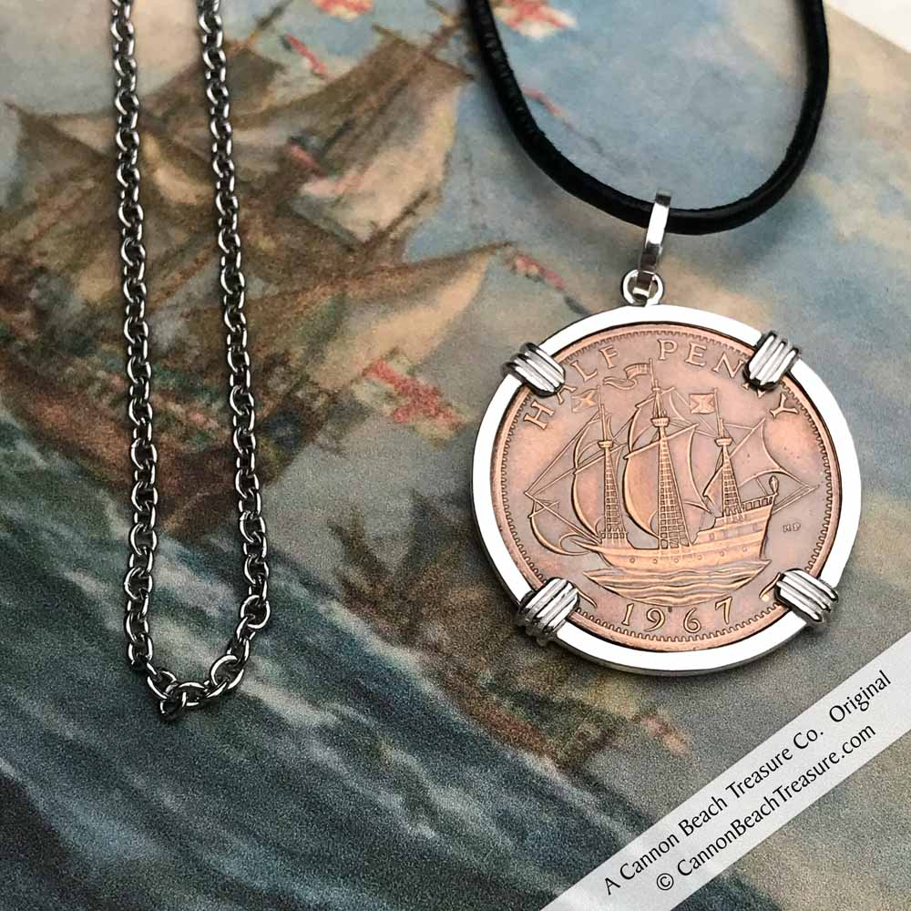 Historic Coin, Chain & Leather Cord Package - Set Sail with Sir Francis Drake Aboard the Golden Hind Ha'penny Necklace