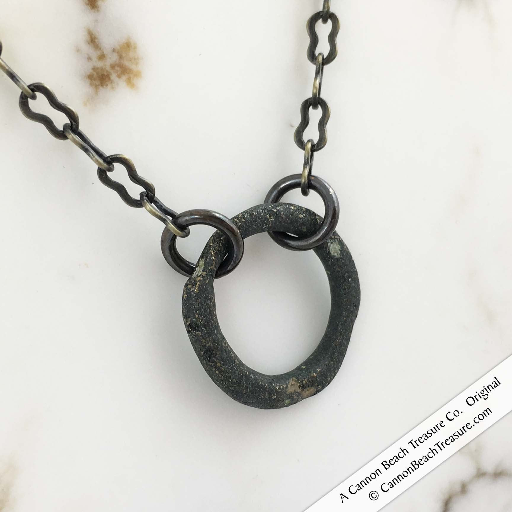 Gently Patinated Bronze Ring Money Necklace on Antiqued Bronze Chain