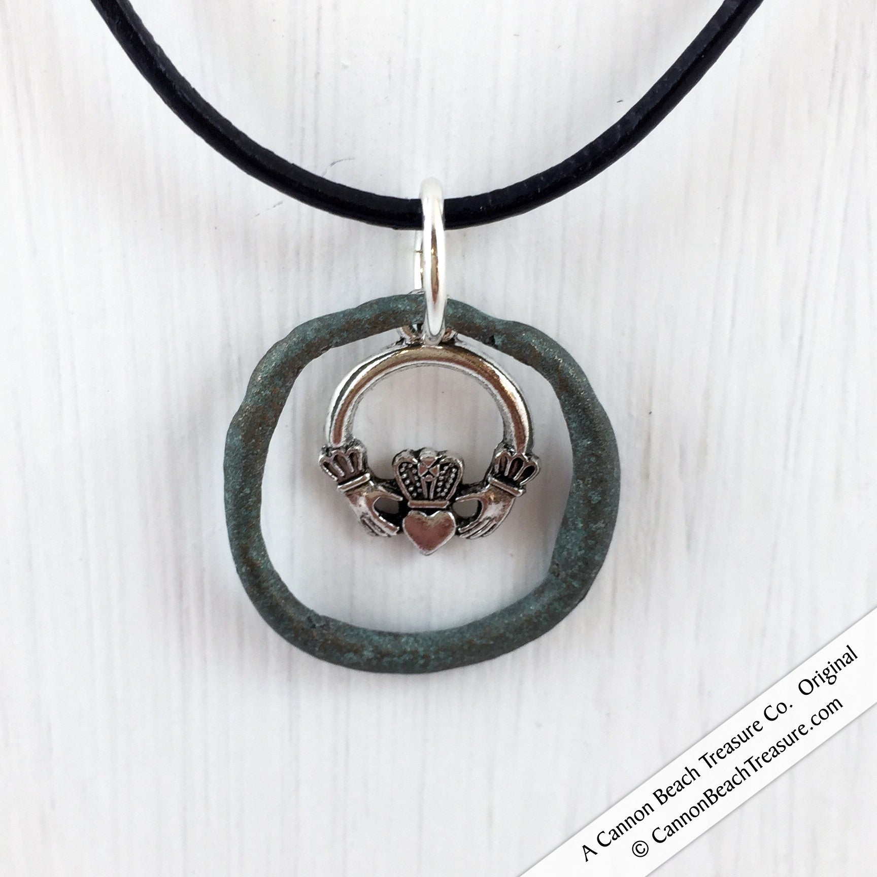 Celtic Ring Money Necklace on Leather