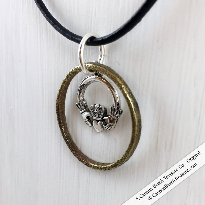 Celtic Ring Money Leather Necklace