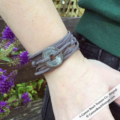 Intention: RENEWAL - Rustic Patina Authentic Chinese Shipwreck Coin Wrap Bracelet & Necklace in Grass Green | Artifact #G3393