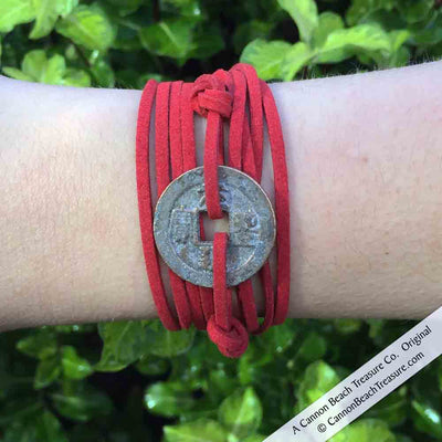 Intention: WISDOM - Rustic Patina Authentic Chinese Bronze Shipwreck Coin Wrap Bracelet & Necklace in Royal Purple | Artifact #G3396