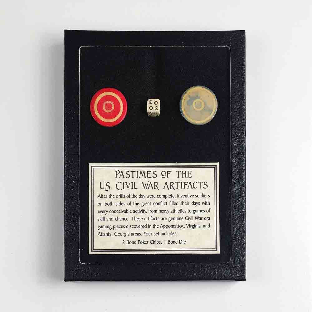 Civil War Pastimes Artifact Display Set 2 in Black Framed Display Box