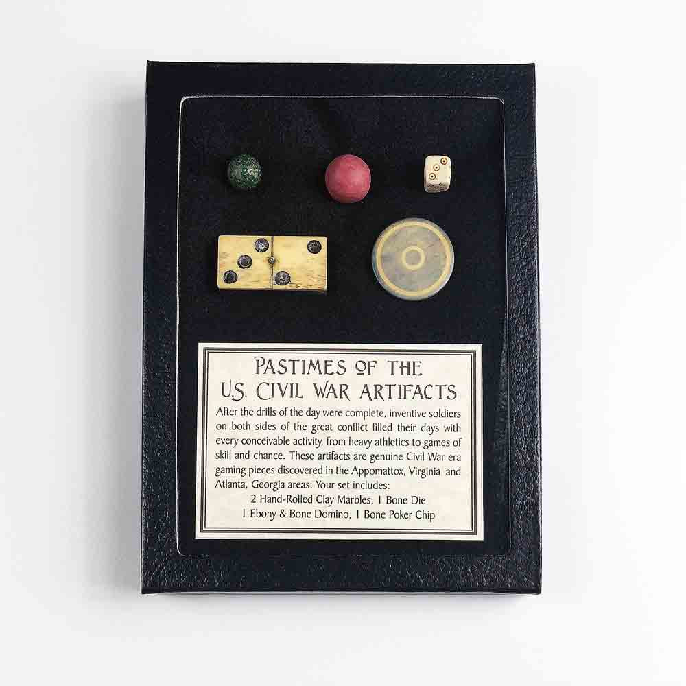 Civil War Pastimes Artifact Display Set 1 in Black Framed Display Box