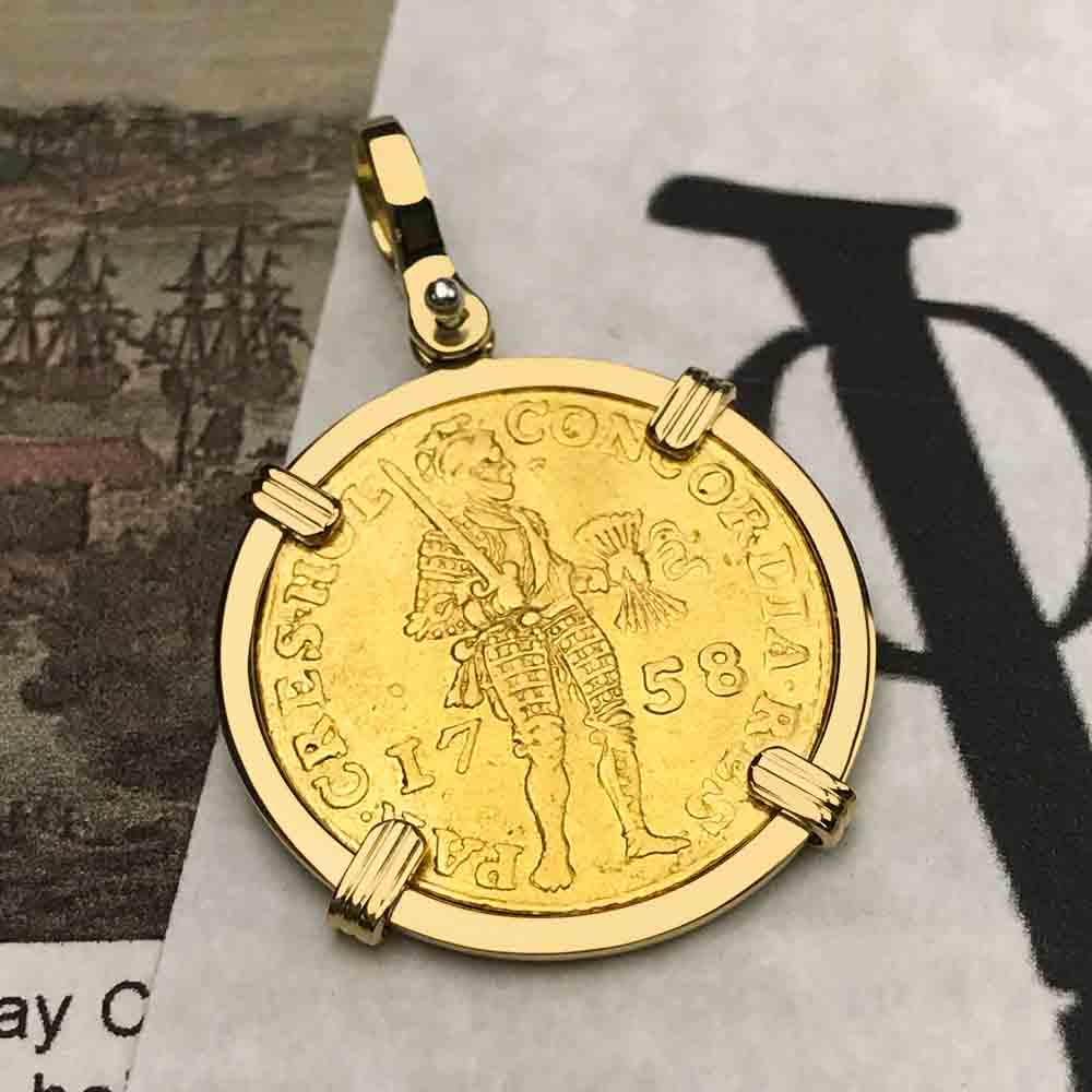 1758 Gold Ducat of the Dutch East India Company VOC 18K Gold Pendant