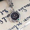 Erin Go Bragh Ireland Forever Wax Seal Necklace with Tsavorite Garnet