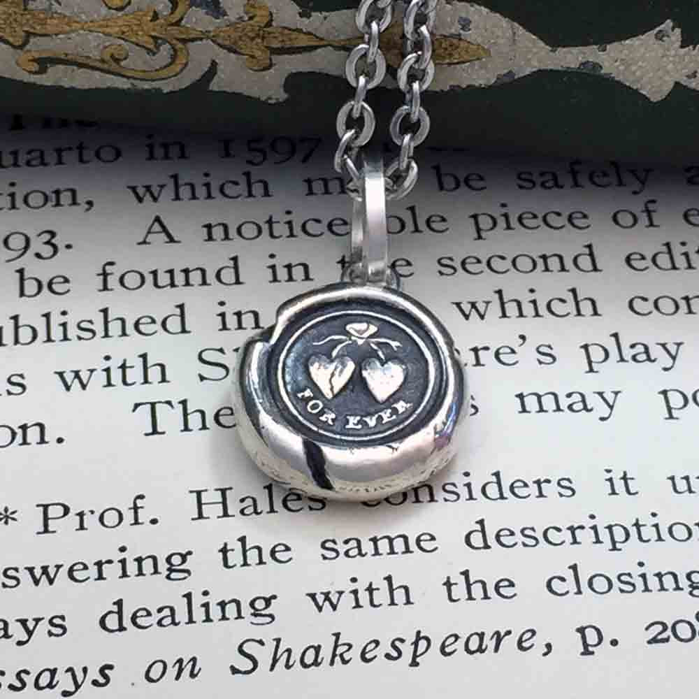 For Ever Victorian Fine Silver Wax Seal Necklace