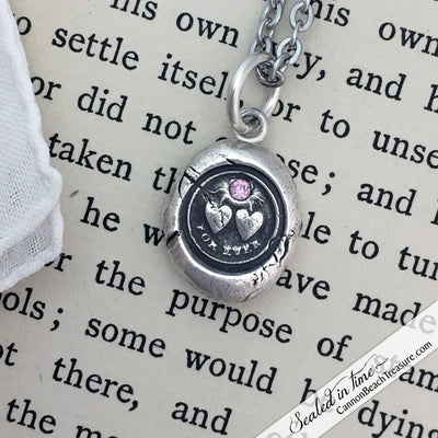 Forever Victorian Wax Seal Necklace with Pink Sapphire