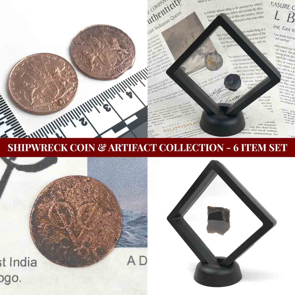 Shipwreck Coin & Artifact Collection - 6 Item Set - Including Bronze and Copper Coins