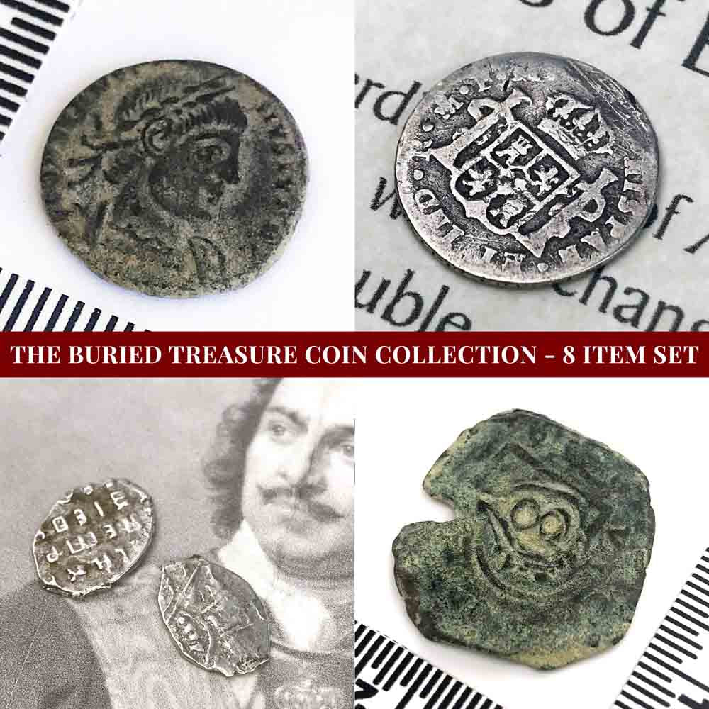 Buried Treasure Coin Collection - 8 Item Set with Silver, Bronze & Copper Coins