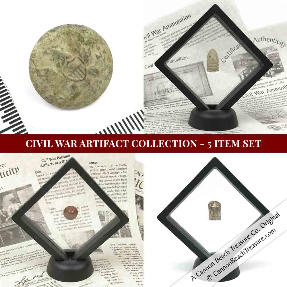 U.S. Civil War Artifact Collection in Mini Museum Displays - 5 Item Set | Artifact #G3135