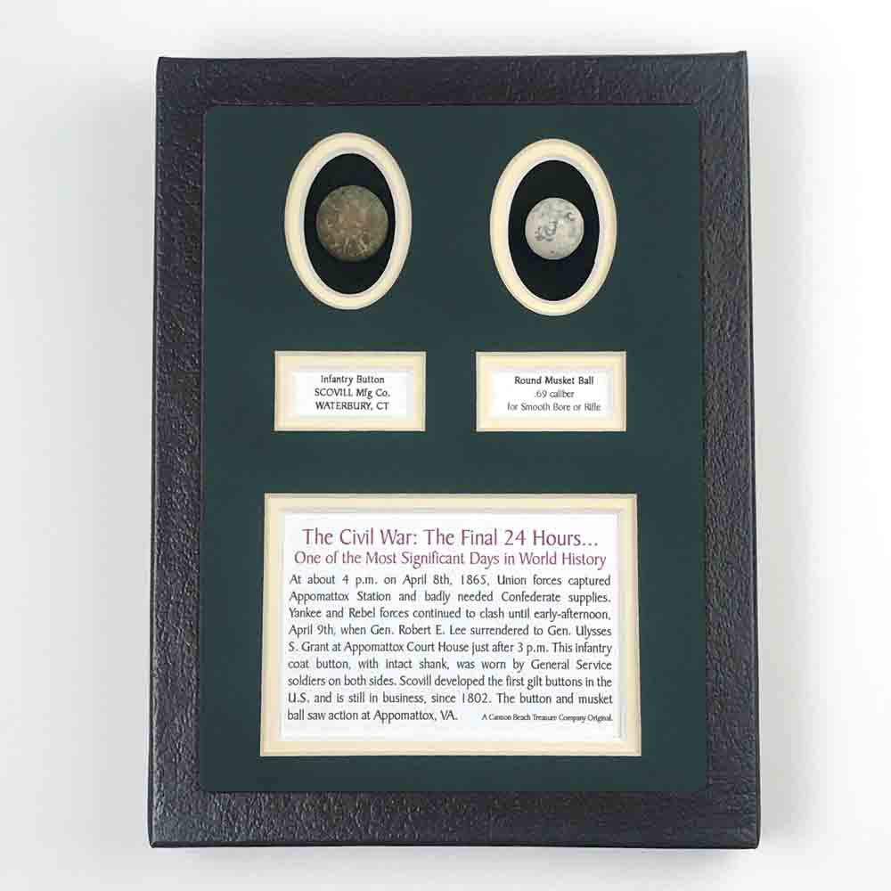 The Final 24-Hours - U.S. Civil War Appomattox, VA - Eagle Button and Musket Ball Set in Black Framed Box