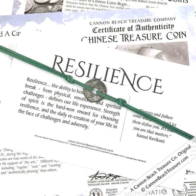 Intention: RESILIENCE - Smooth Patina Authentic Chinese Shipwreck Coin Wrap Bracelet