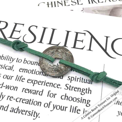 Intention: RESILIENCE - Rustic Patina Authentic Chinese Shipwreck Coin Wrap Bracelet
