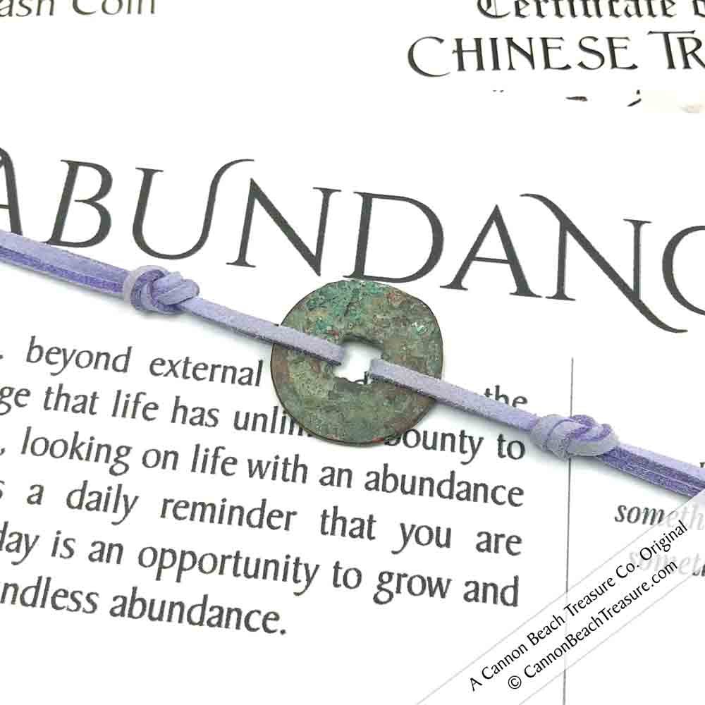 Intention: ABUNDANCE - Rustic Patina Authentic Chinese Shipwreck Coin Wrap Bracelet & Necklace in Heathered Lavender