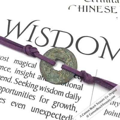 Intention: WISDOM - Rustic Patina Authentic Chinese Shipwreck Coin Wrap Bracele