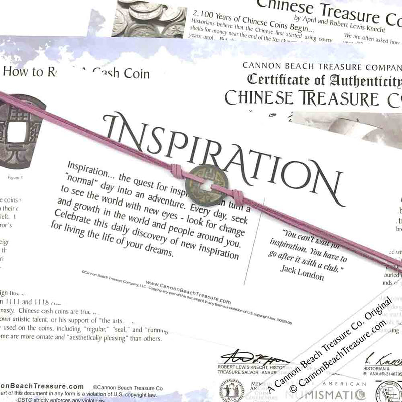 Intention: INSPIRATION - Smooth Patina Authentic Chinese Shipwreck Coin Wrap Bracelet & Necklace in Lilac Purple
