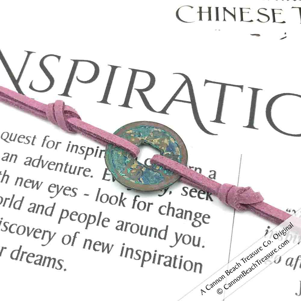 Intention: INSPIRATION - Rustic Patina Authentic Chinese Shipwreck Coin Wrap Bracelet & Necklace in Lilac Purple