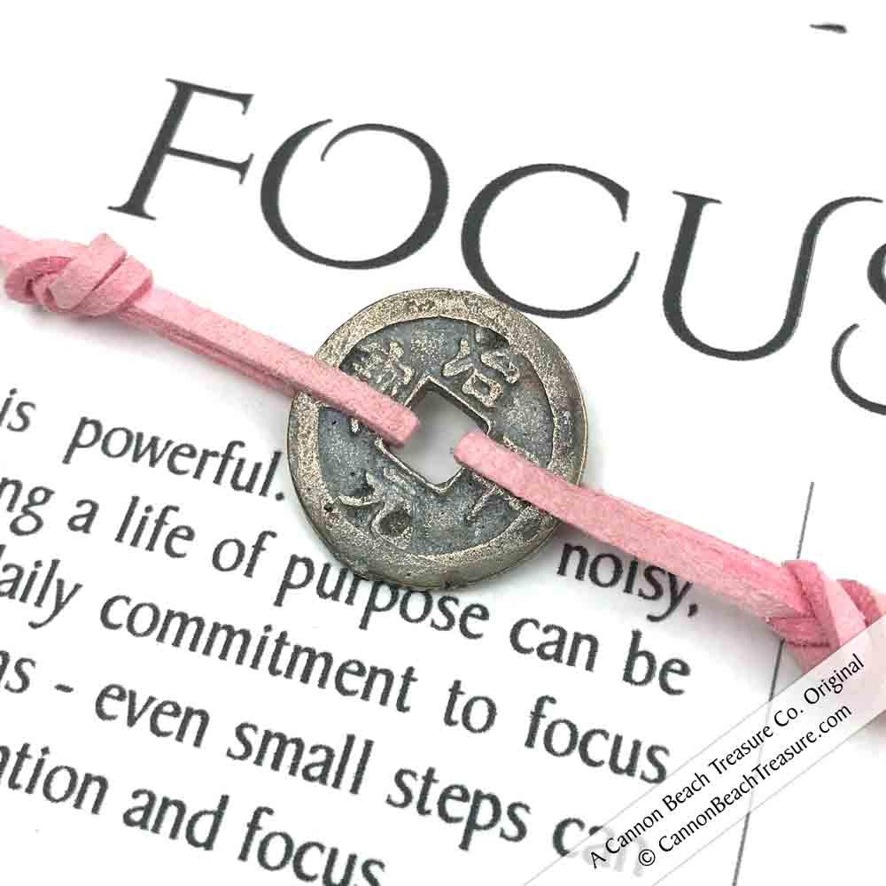 Intention: FOCUS - Smooth Patina Authentic Chinese Shipwreck Coin Wrap Bracelet & Necklace in Blush Pink