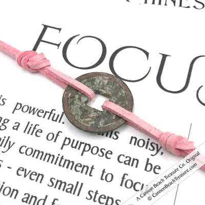 Intention: FOCUS - Rustic Patina Authentic Chinese Shipwreck Coin Wrap Bracelet & Necklace in Blush Pink