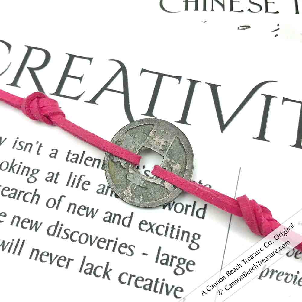 Intention: CREATIVITY - Smooth Patina Authentic Chinese Shipwreck Coin Wrap Bracelet & Necklace in Deep Pink