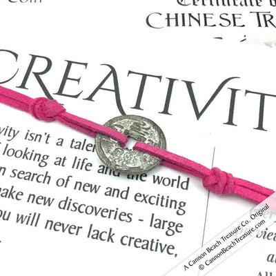 Intention: CREATIVITY - Rustic Patina Authentic Chinese Shipwreck Coin Wrap Bracelet & Necklace in Deep Pin