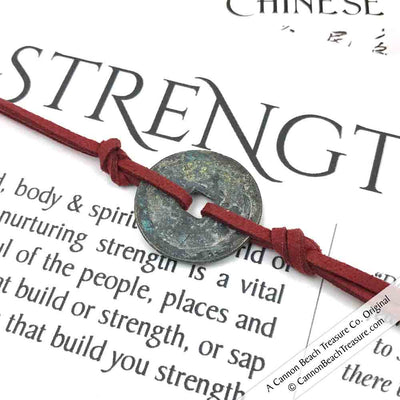 Intention: STRENGTH - Rustic Patina Authentic Chinese Shipwreck Coin Wrap Bracelet & Necklace in Antique Red